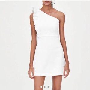 NWT ZARA trf White One Shoulder Frill Dress SX XL